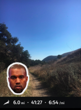 Kanye Sticker in Trackster app